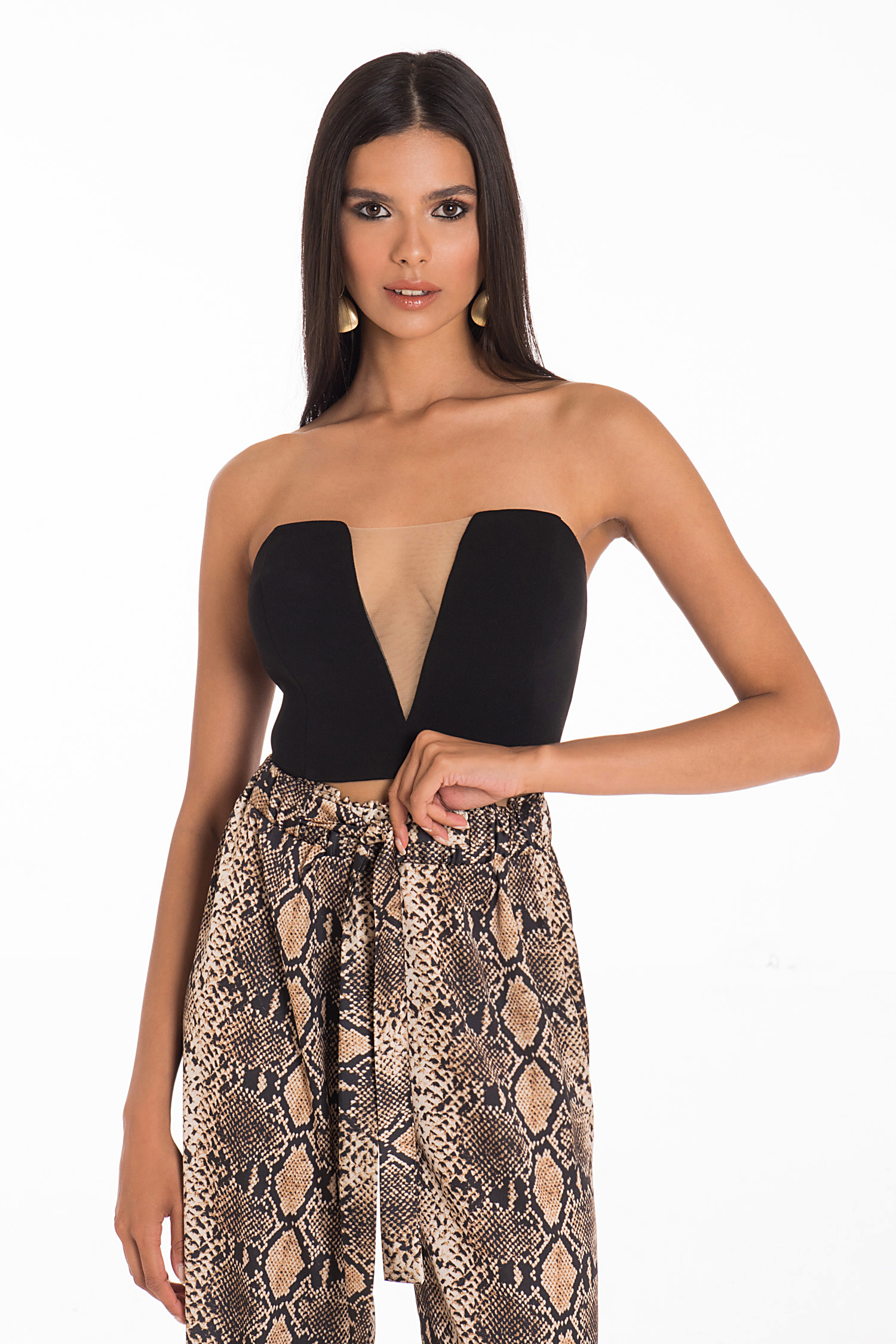 TOP STRAPLESS ΜΕ ΔΙΑΦΑΝΕΙΑ