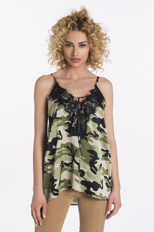 LINGERIE ΜΕ ARMY PRINT & ΔΑΝΤΕΛΑ